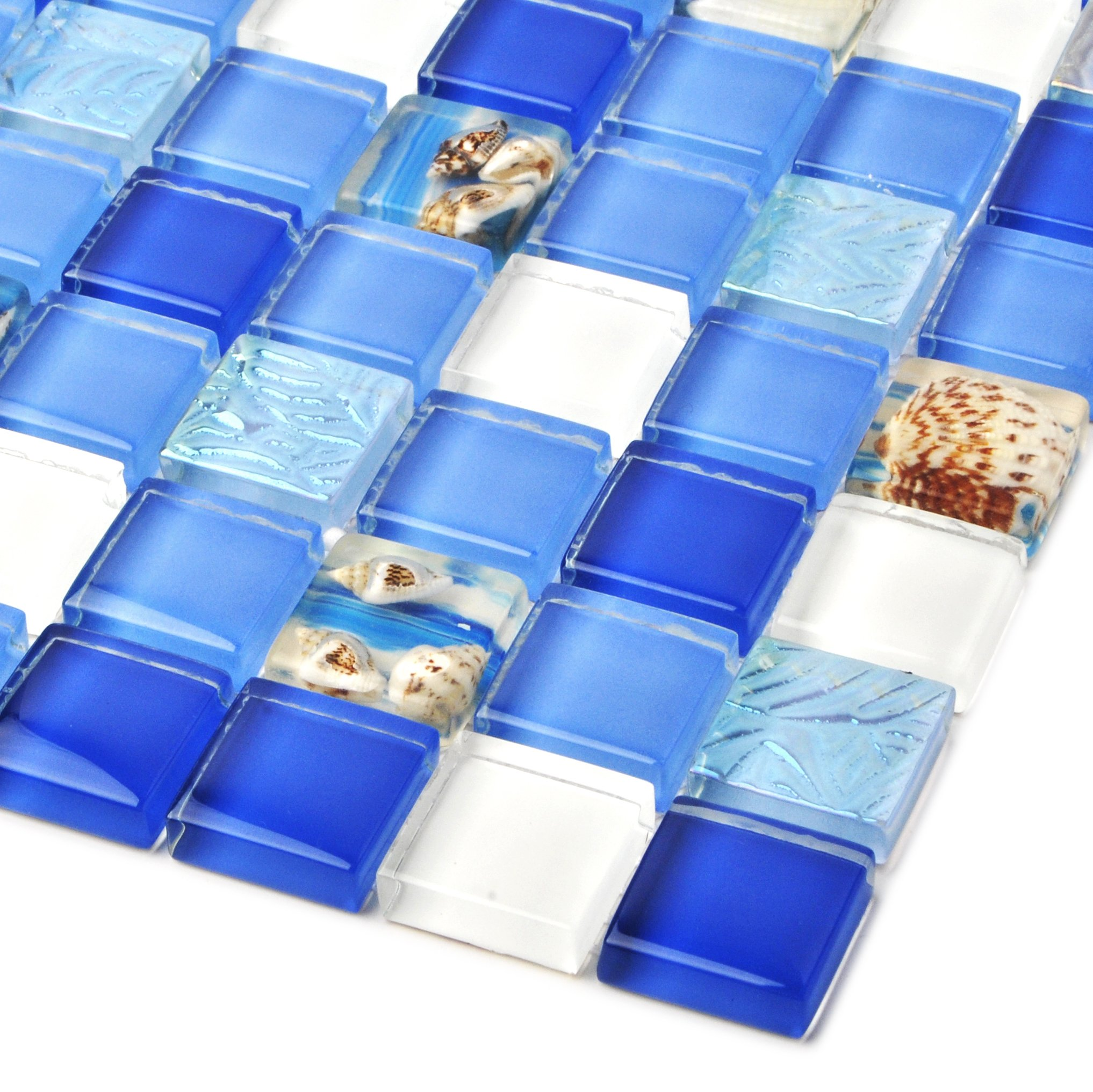 TST Glass Conch Tiles Beach Style Sea Blue White Glass Mosaic Mother of Pearl Resin for Bathroom Shower TSTNB07 (11 PCS [12''X12''/each])