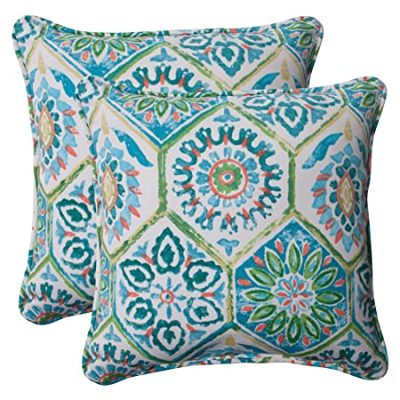 Pillow Perfect Outdoor Summer Breeze Corded Throw Pillow, 18.5-Inch, Pool, Set of 2