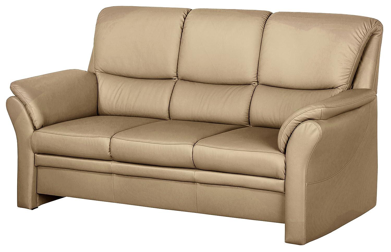 Cavadore 4342 3-Sitzer Klariza, 195 x 102 x 91 cm, Leder Punch kombiniert mit Kunstleder, cappuccino