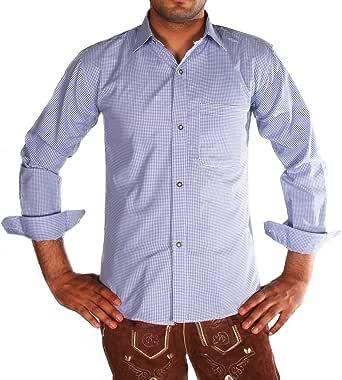 Camisa de piel para hombre de Gesteiner a cuadros, camisa de manga larga, corte regular de algodón con mangas remangadas, diferentes colores a cuadros: Amazon.es: Ropa y accesorios