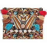 Changnoi Handmade Boho Clutch Bag with Flower Embroidery Decorative Tassels