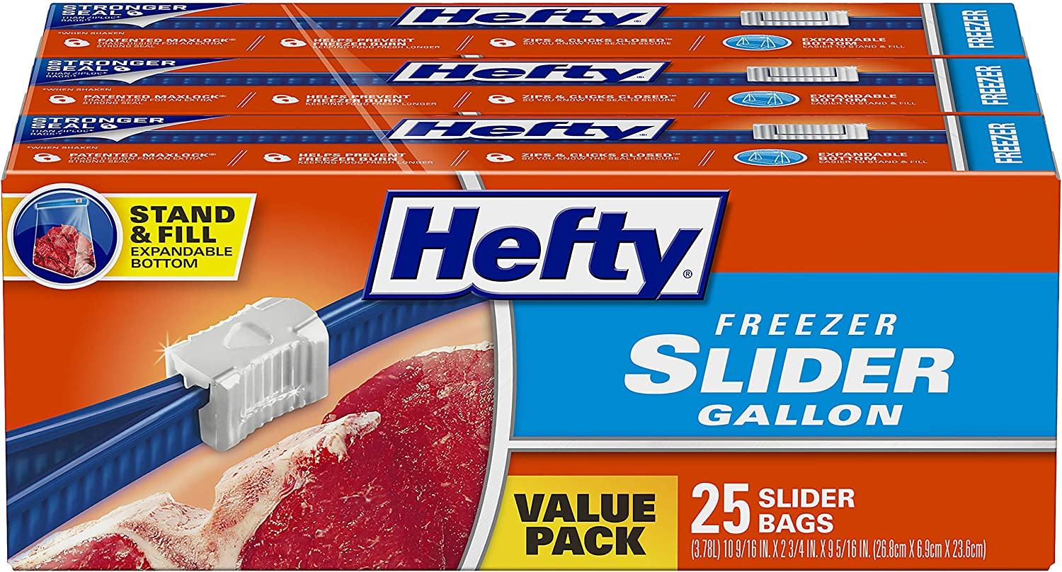 Hefty Slider Freezer Bags, Gallon Size, 75 Count