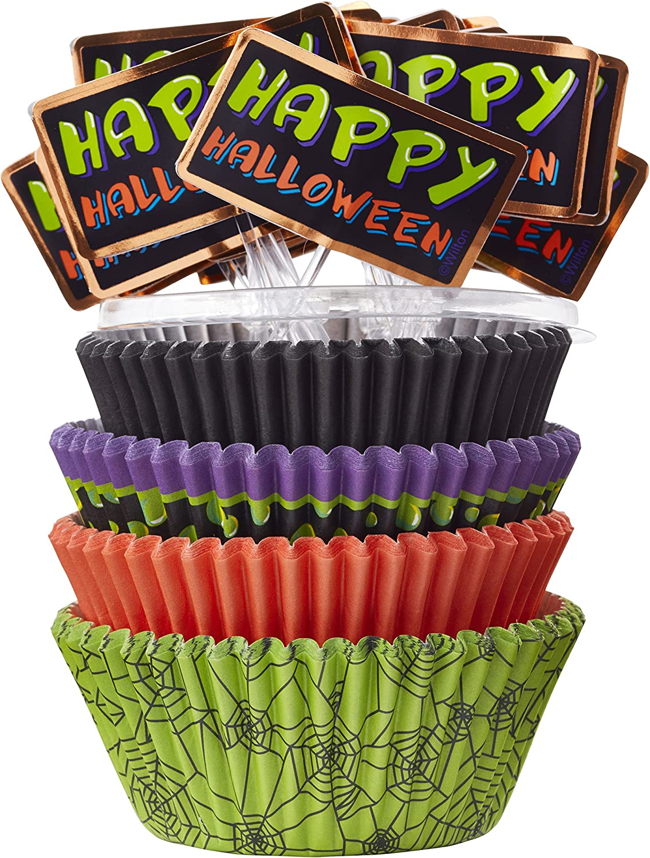 Halloween Muffin Wrappers Halloween Cupcake Wrappers Halloween Party Supplies Halloween Baking Cups Modern Halloween Cupcake Liners