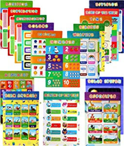 Educational Preschool Poster-16 Pieces Colorful and Easy to Read Educational Posters with Glue Point Dot Learning Decor for Toddlers or Homeschool Younger Children (16PCs)