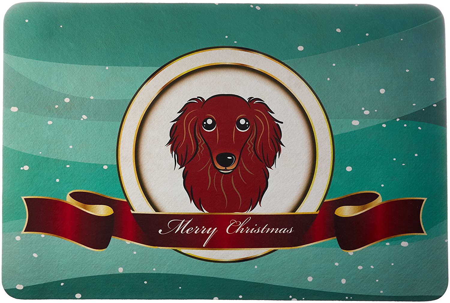 Multicolor Carolines Treasures BB1524JCMT Longhair Red Dachshund Merry Christmas Kitchen or Bath Mat 24 by 36