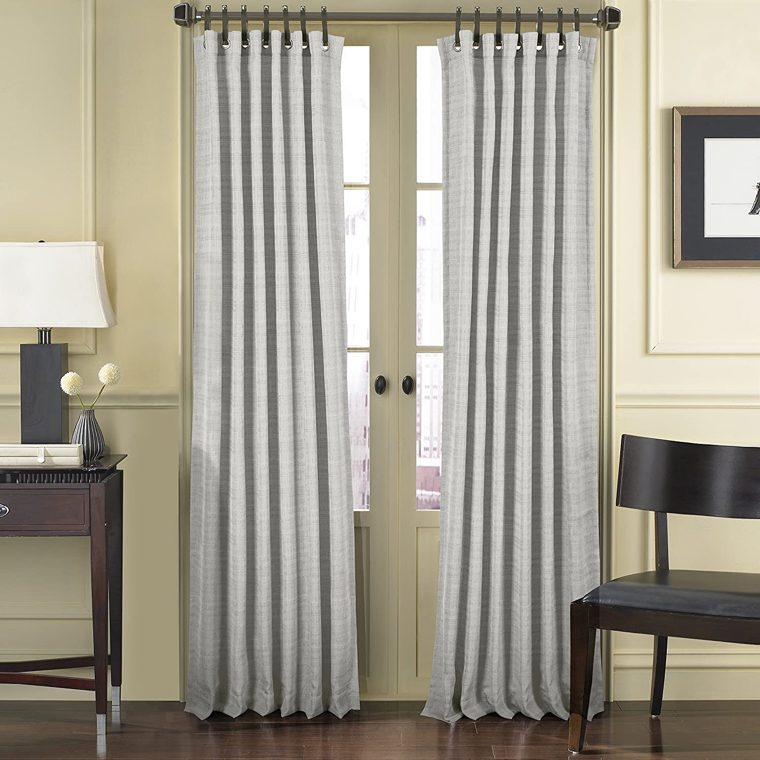 Five Queens Court Charlie Woven Window Panel Curtain with Grommet and Leather Tab Top Stone 217511284PN