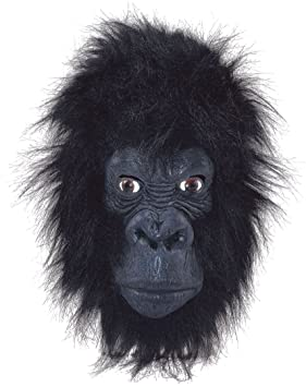 Gorilla MASK ape monkey animal FANCY DRESS overhead new (máscara/careta)