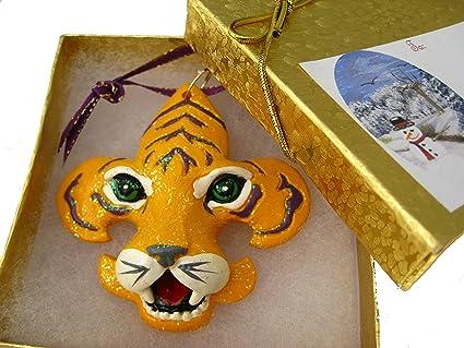 amazon com tiger fleur de lis ornament with gift box bow tag