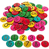 Natural Ready 2 Learn Coconut Numbers Hand Made Counters for Kids Numbers 1-100 Set of 100 Math Manipulatives