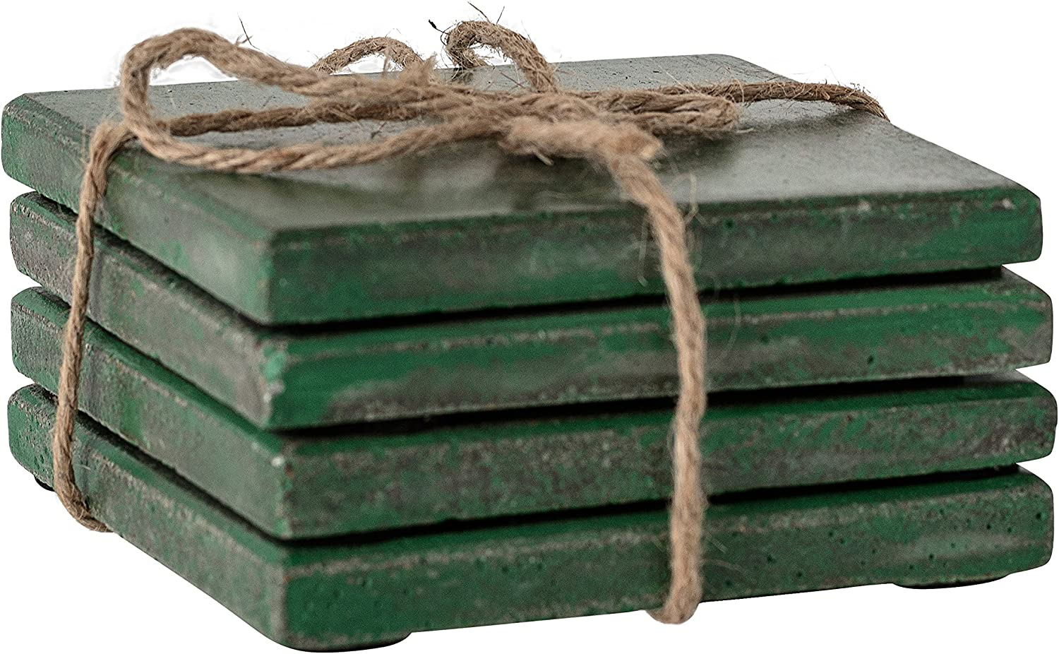 """Bloomingville Green Square Cement Coasters (Set of 4), 4"""""""