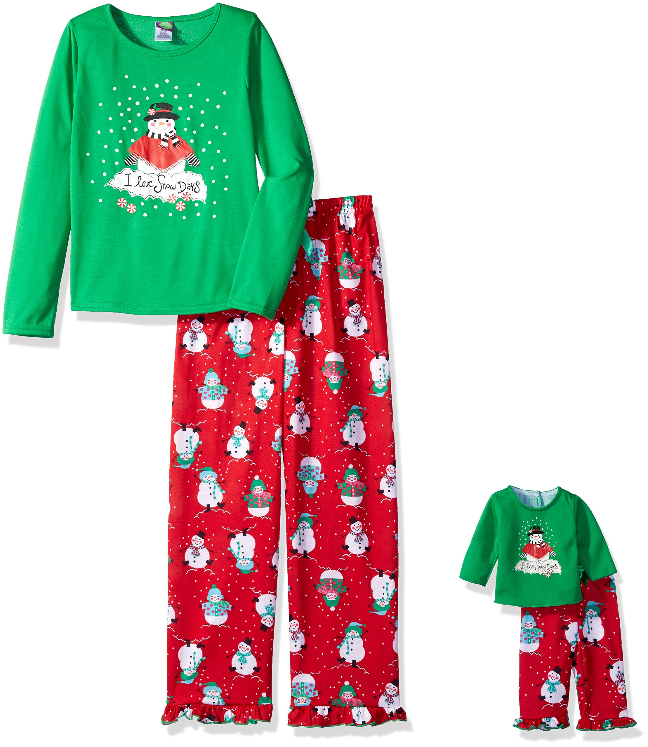 Dollie & Me Big Girls' Snowman I Love Snow Days Sleepwear Set, Red/Green, 12 by Dollie & Me (Image #1)
