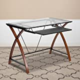 Flash Furniture Glass Computer Desk with Pull-Out Keyboard Tray and Crisscross Frame