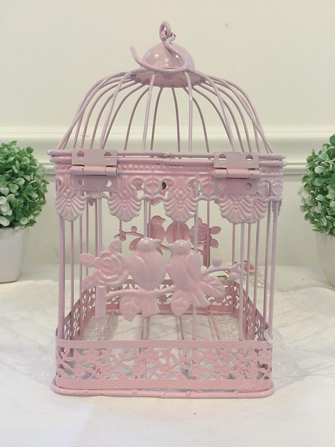 Pink Wrought Iron Birdcage Shaped Hanging Planters, Shabby Chic,Set of 3 with Beautiful Love Bird Design