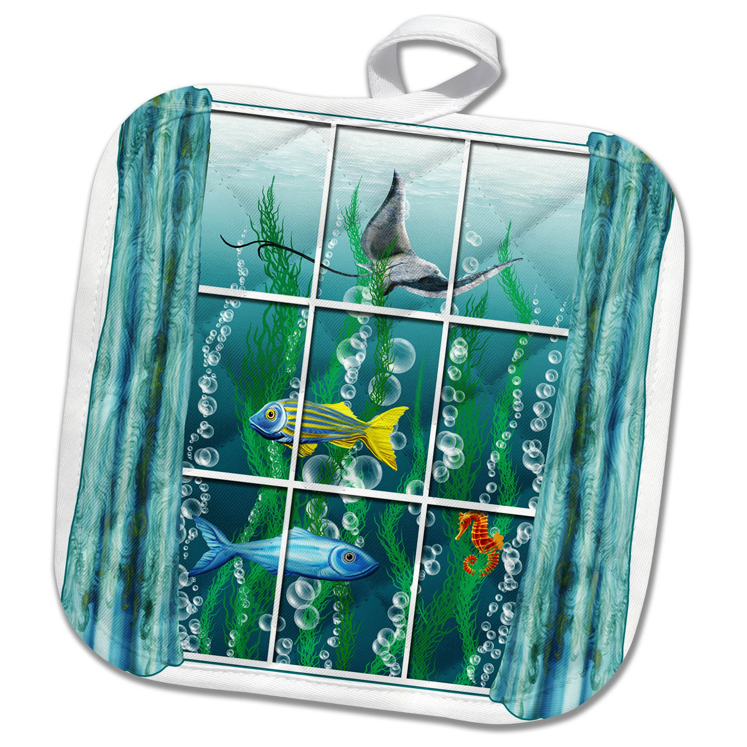 3dRose Dream Essence Designs-The Ocean - A surreal scene of a room with view to ocean life through the window. - 8x8 Potholder (phl_266098_1)