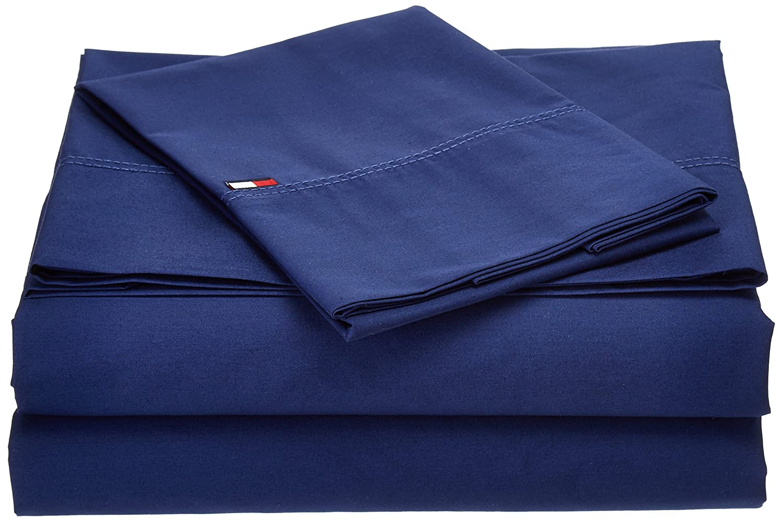 Tommy Hilfiger Signature Sheet, Twin X-Large, Dark Blue