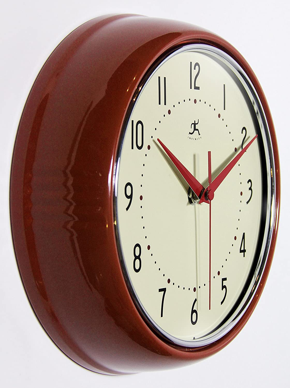 Infinity Instruments Round Silent Red Retro Indoor Wall Clock Home Kitchen Amazon Com