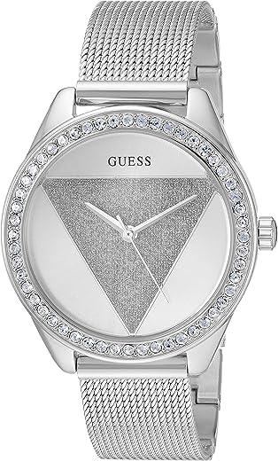 ساعة جليتس فضية مع شعار للعلامة وسوار شبكي من جيس اللون: فضي (موديل: U1142L1)