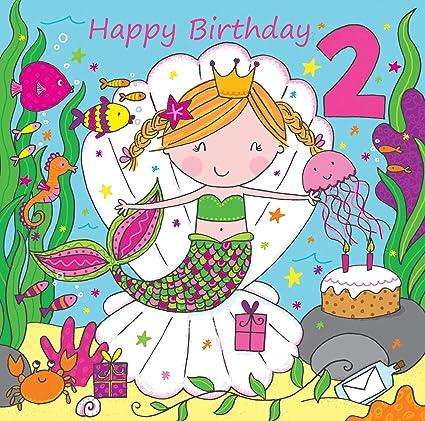Twizler Tarjeta de 2º cumpleaños para niña con linda sirena ...