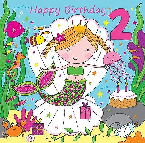 Twizler 2 Nd Di Compleanno Per Ragazza Con Cute Mermaid Glitter