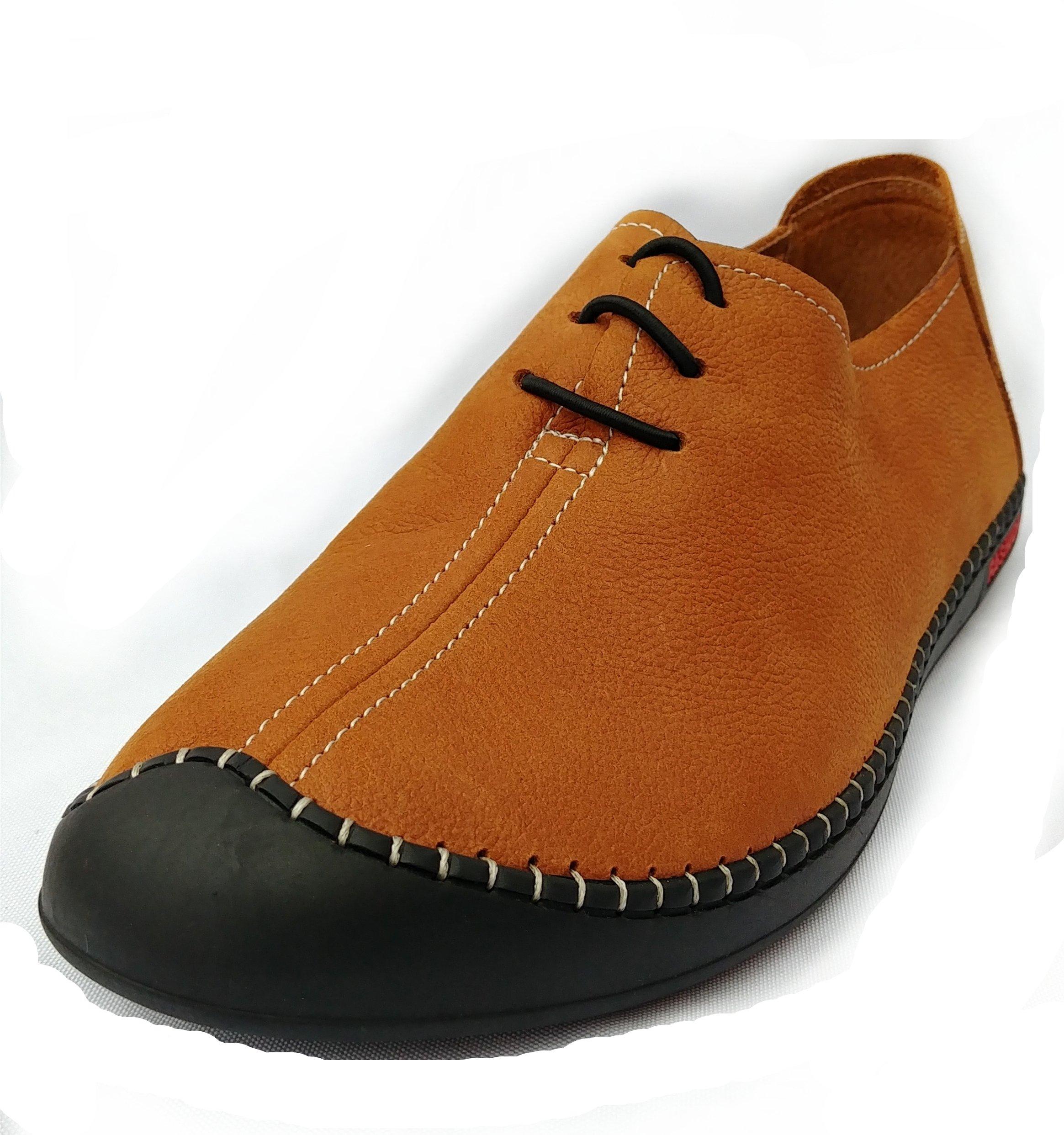 Shoioi Men's Casual Oxford Shoes Flat Fashion Sneakers (EU 42/US 9-9.5, Brown)