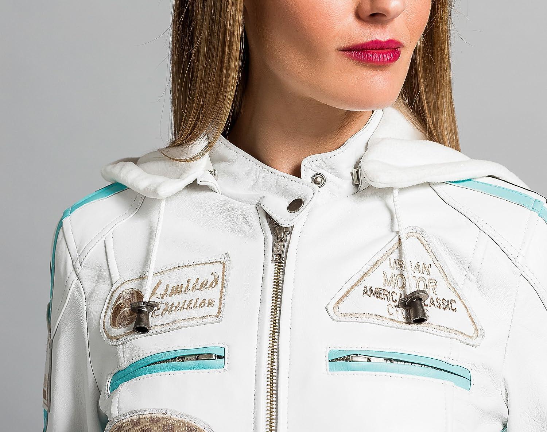 Urban Leather 58 Veste de Moto pour Femmes avec Protections tan-L
