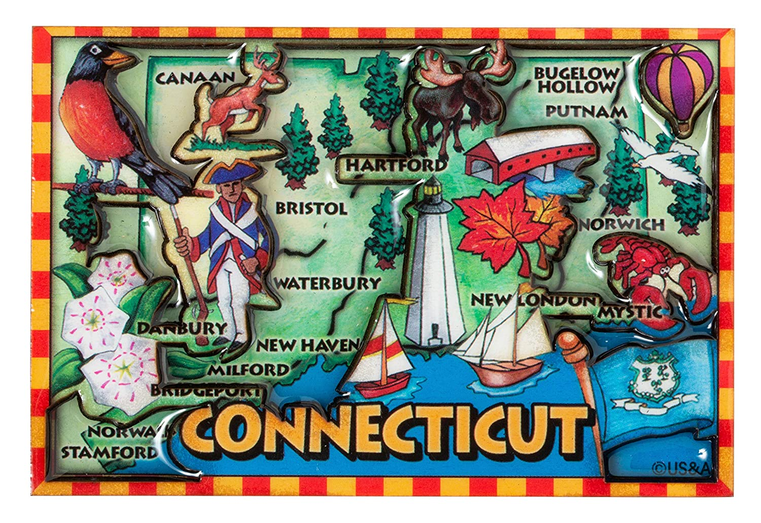 Connecticut State Iconic Images Map Raised Souvenir Refrigerator Magnet