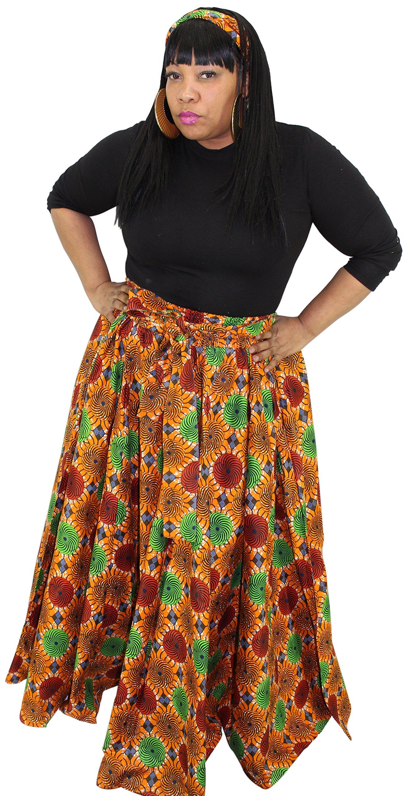 African Planet Women's Wax Dashiki Skirt Bow Tie Elastic Waist Ankara Maxi (Red & Green)