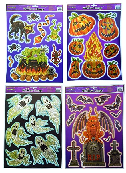 multicraft imports halloween holographic vinyl laser cut window clings 4 sheets set 4 pack