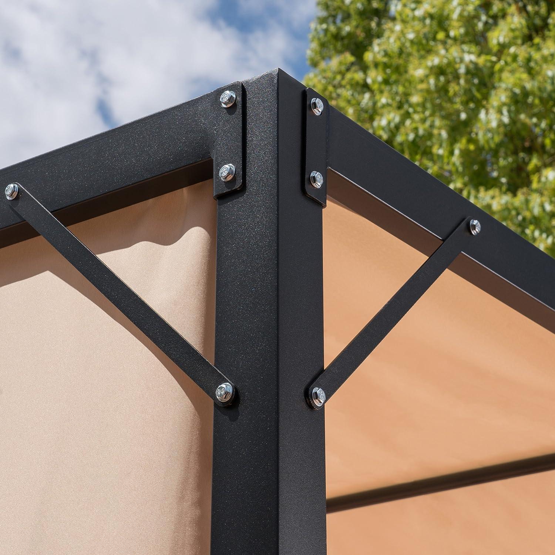 Christopher Knight Home 304392 Wendy Outdoor Steel Framed 10 Gazebo, Beige, Black
