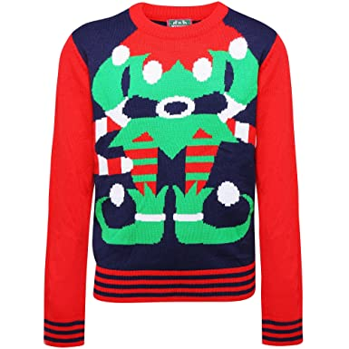 003247330 Christmas Shop Childrens/Kids Elf Jumper: Amazon.co.uk: Clothing