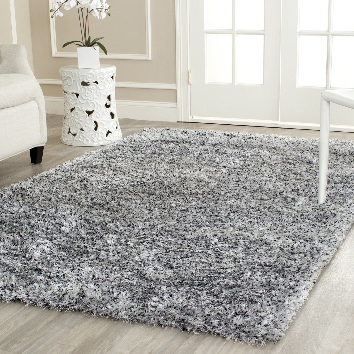 High Quality Amazon.com: Safavieh Malibu Shag Collection MLS431S Handmade Silver  Polyester Area Rug (8u0027 X 10u0027): Kitchen U0026 Dining