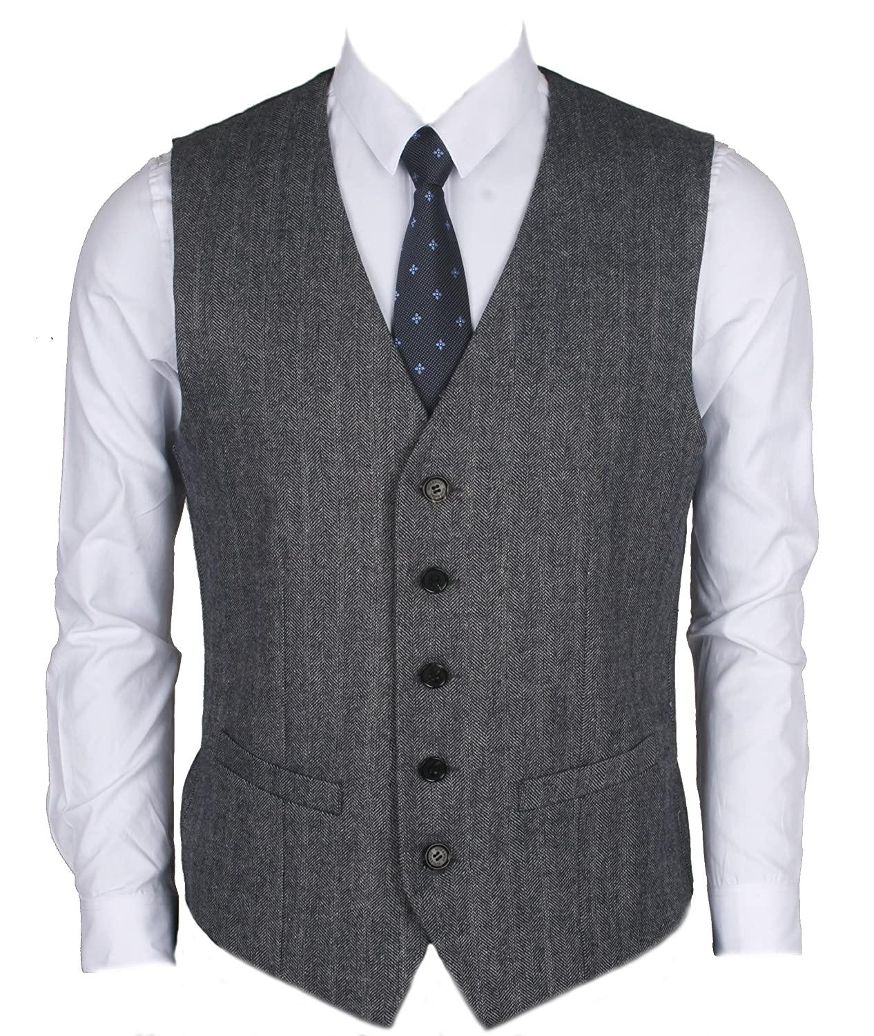 Ruth& Boaz 2Pockets 5Buttons Wool Herringbone Business Suit Vest