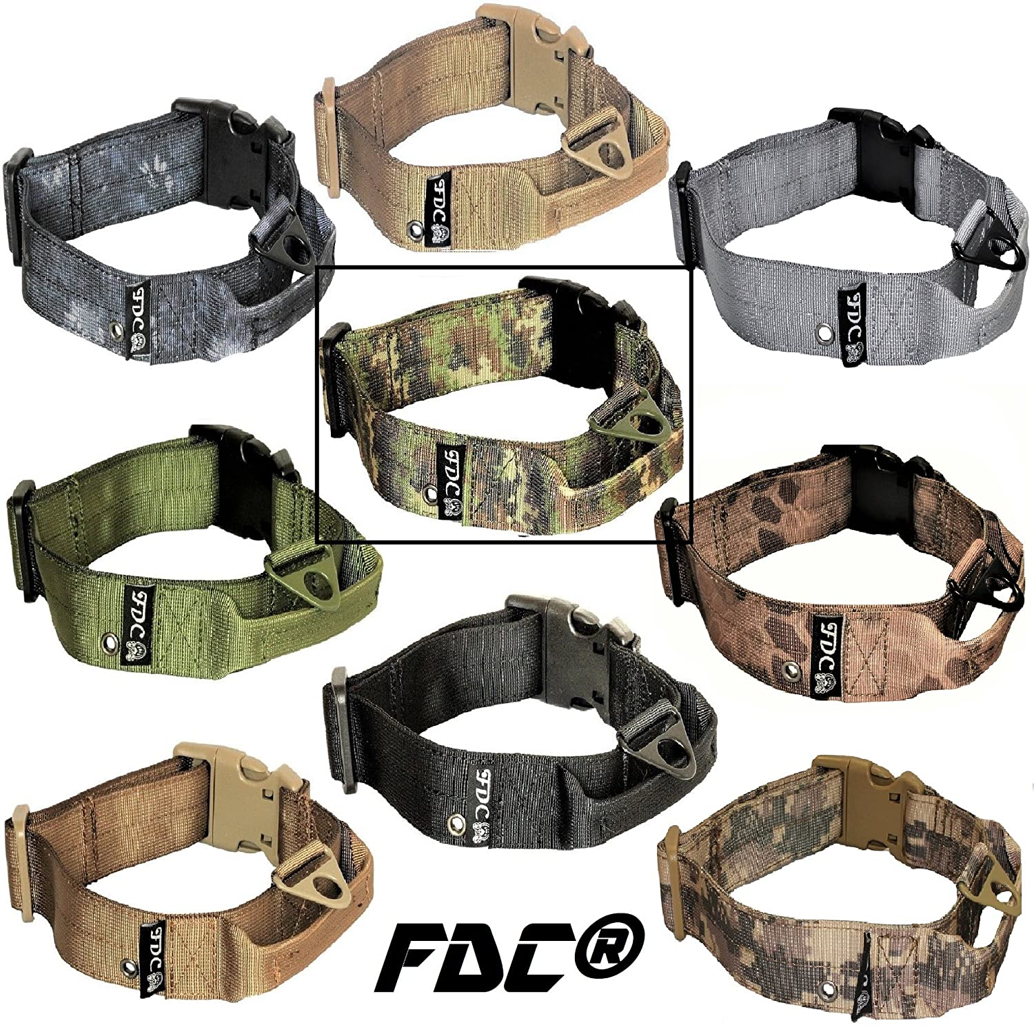 Camouflage XXL  Neck 20\ Camouflage XXL  Neck 20\ FDC Dog Tactical Collars with Handle Heavy Duty Training Military Army Width 1.5in Plastic Buckle TAG Hole Medium Large M, L, XL, XXL (XXL  Neck 20  24 , Camouflage)