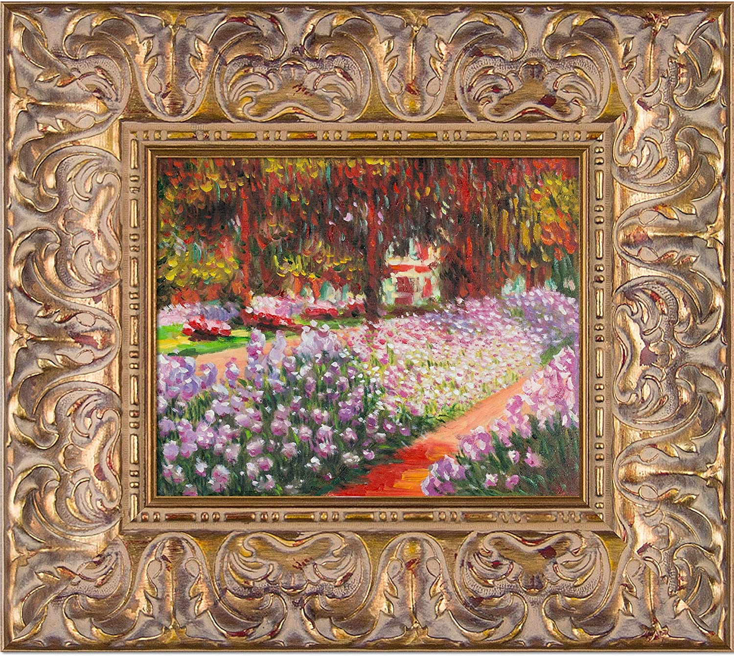 La Pastiche overstockArt Artist's Garden at Giverny by Claude Monet with Espana Gold Framed Artwork, MON2464-FR-93288X10