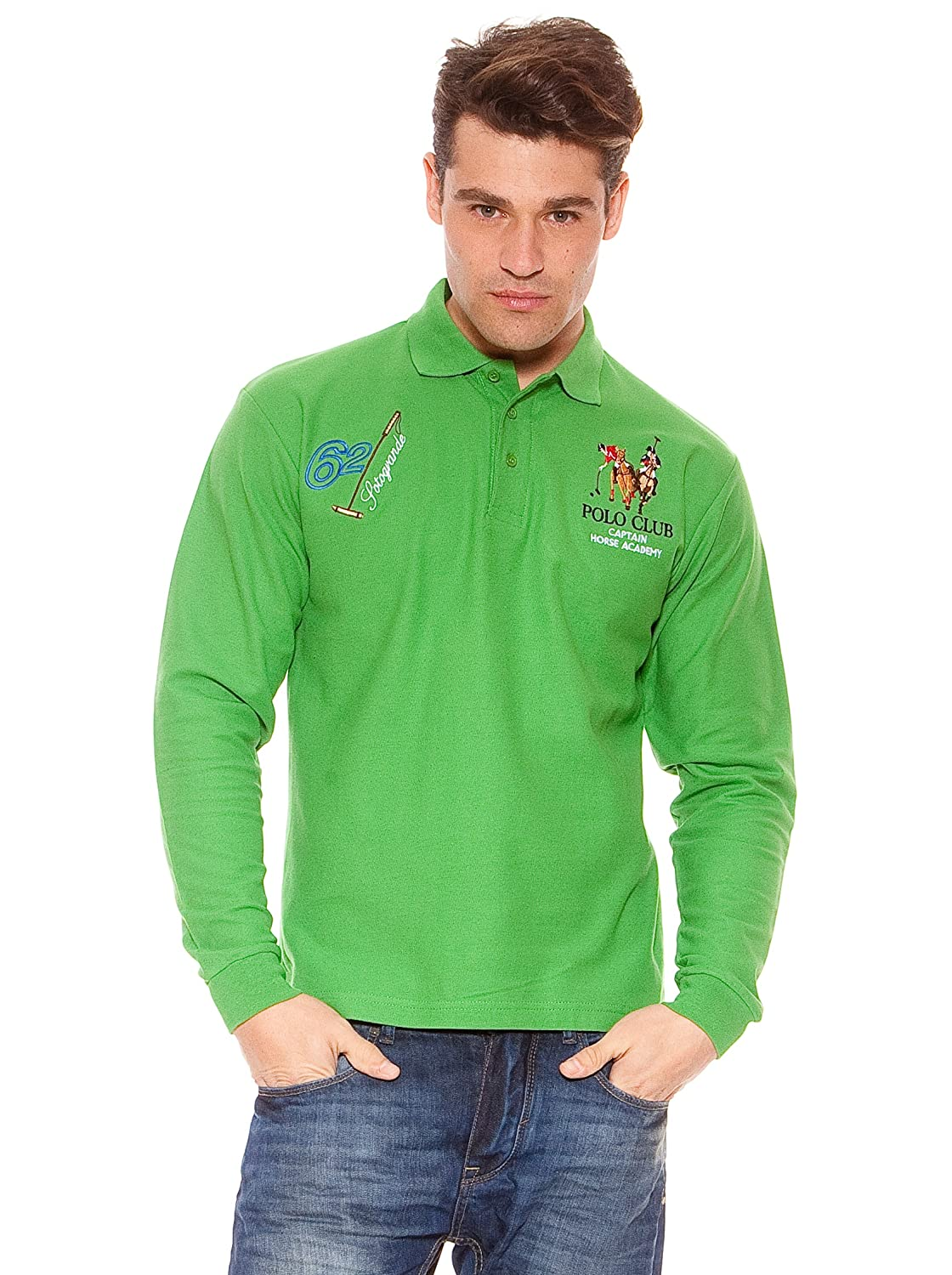 POLO CLUB Polo Manga Larga Caballero Regular Fit Color Verde Grass ...
