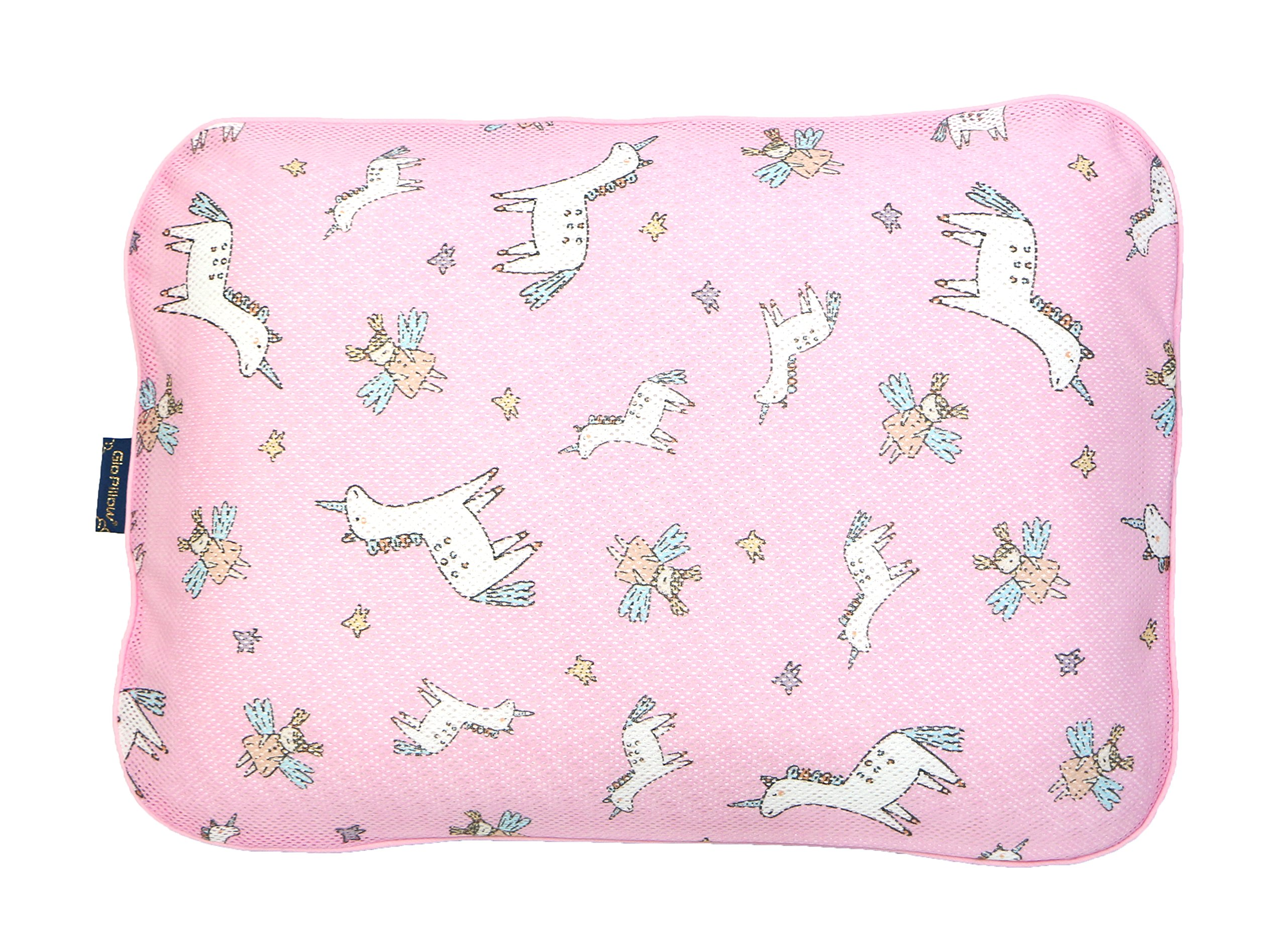 Gio Pillow 3D Air Mesh Baby Pillow, Head Shaping Pillow, Flat Head Syndrome Prevention [Unicorn/Large]