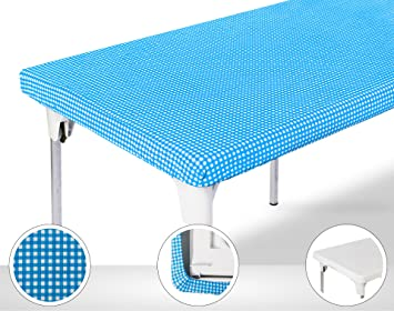 TopTableCloth Picnic Table Cover Blue Checkered Elastic Table Cloth On The  Corner For Folding Table 6ft