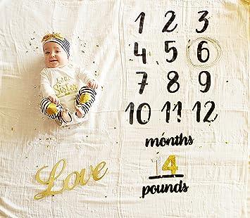 Amazoncom Growing Newborn Baby Age Monthly Milestone Blanket