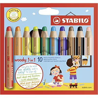 STABILO 880/10 Woody 3-in-1 Multi-Talented Pencil - Assorted Colours, Wallet of 10: Office Products