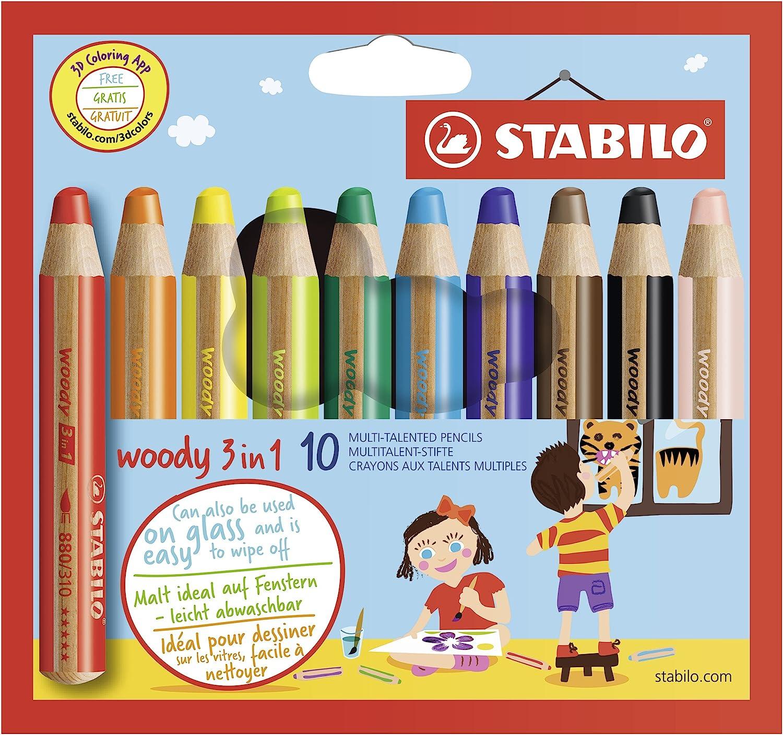 B000MQHDKM STABILO 880/10 Woody 3-in-1 Multi-Talented Pencil - Assorted Colours, Wallet of 10 91OtocMljrL