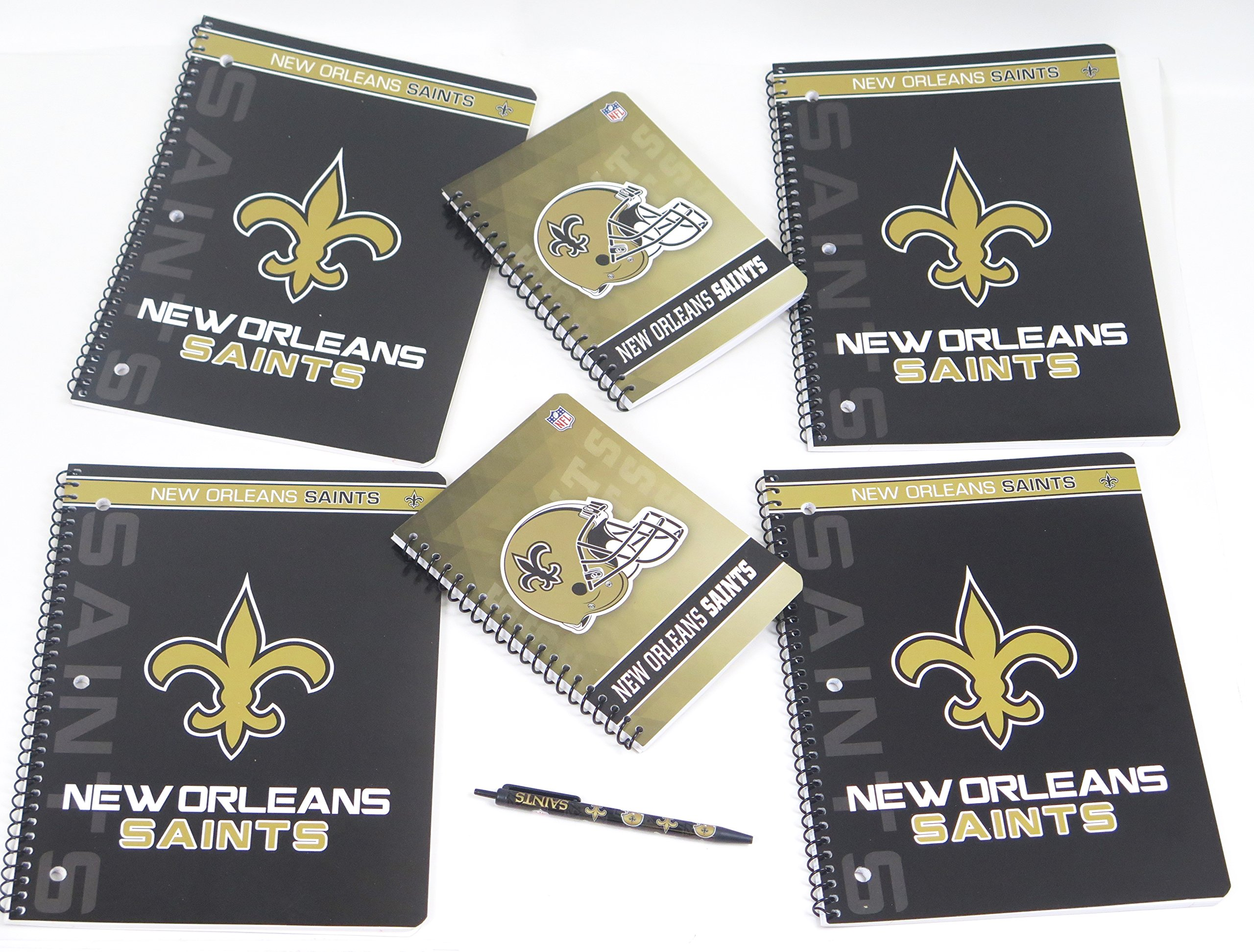 New Orleans Saints back to school set includes ballpoint pen, 4 large spiral bound ruled Single subject pads and 2 journal Pads.