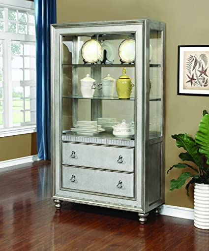 Coaster Hollywood Glam Metallic Platinum Curio Cabinet With 3 Shelves And 2  Drawers