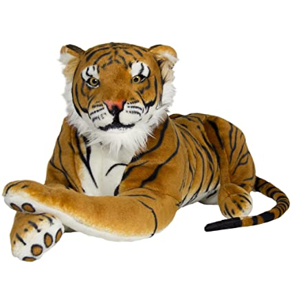 Best Choice Products Tiger Plush Animal Realistic Big Cat Orange Bengal Soft Stuffed Toy Pillow, Orange, Large