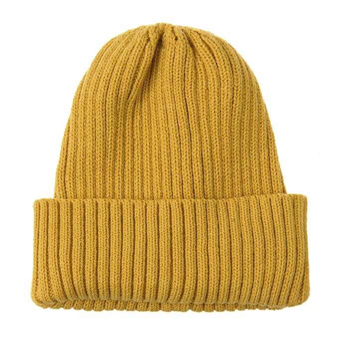 WITHMOONS Gorros de Punto Knitted Ribbed Beanie Hat Basic Plain Solid Watch  Cap AC5846 (Yellow 0cdcd81ba03