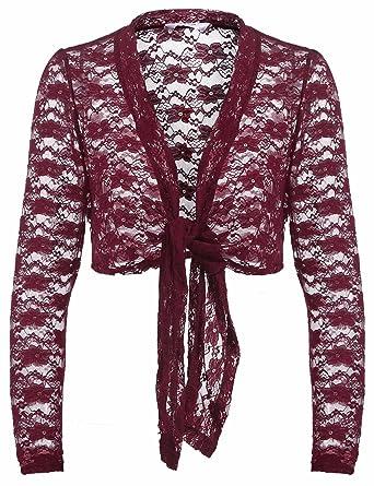 dc53ab48da416 Grabsa Women s Long Sleeve Lace Bolero Shrug Tie Front Cropped Open Cardigan  at Amazon Women s Clothing store