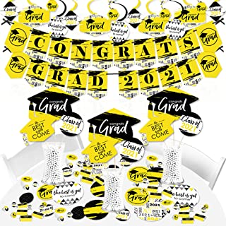 product image for Big Dot of Happiness Yellow Grad - Best is Yet to Come - 2021 Yellow Graduation Party Supplies - Banner Decoration Kit - Fundle Bundle