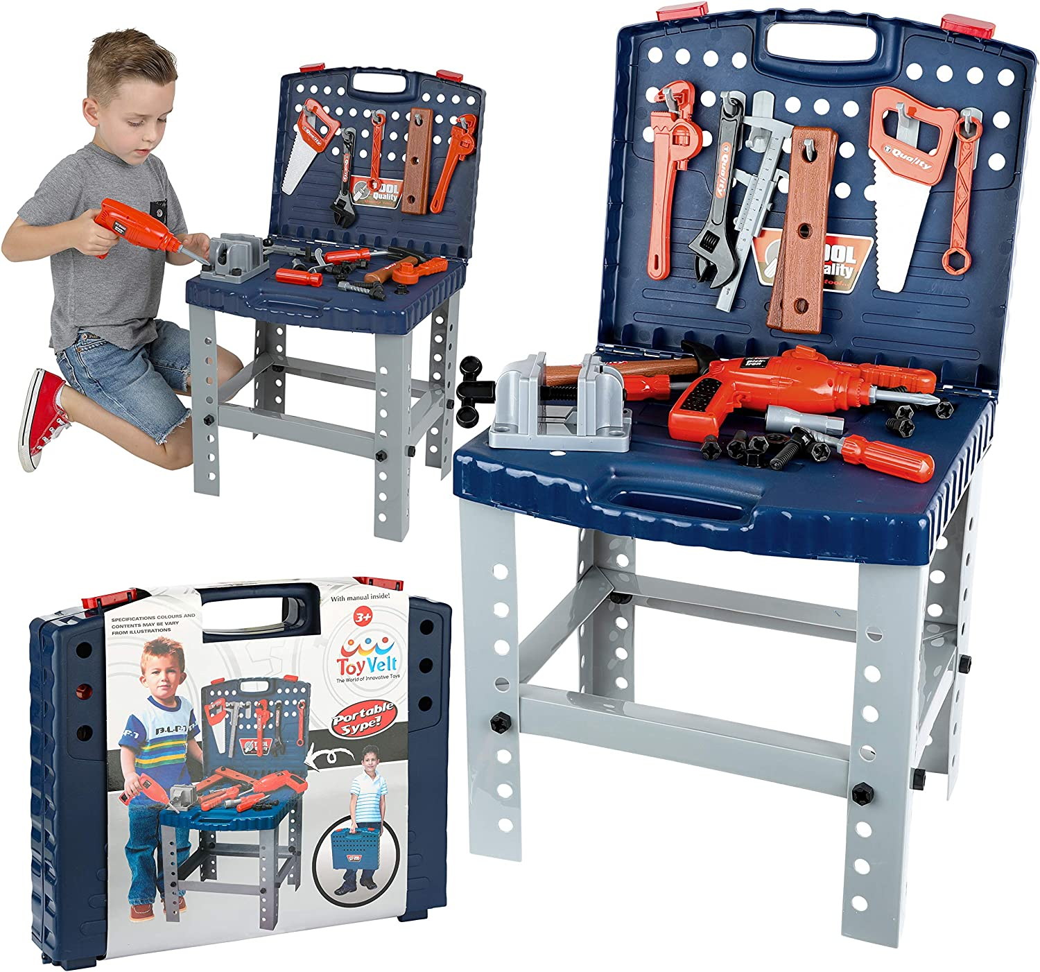 68 Piece Workbench W Realistic Tools & Electric Drill For Workshop Tool Bench