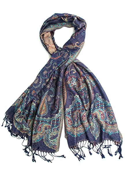 9e8aa6628 Paulette Scarf, Pashmina Indian Paisley Traditional Jacquard Shawl - hand  made in India (Navy
