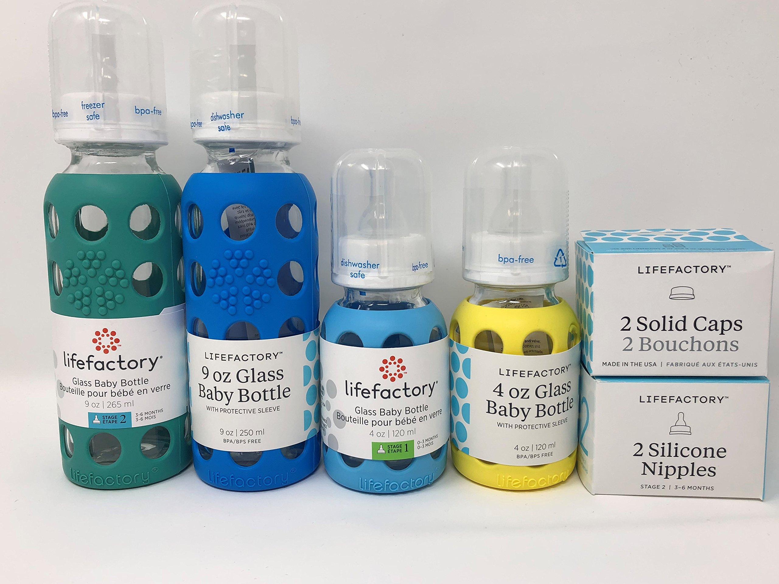Lifefactory Glass Baby Bottles 4 Pack Starter Kit (9 oz. & 4 oz. - Boys)