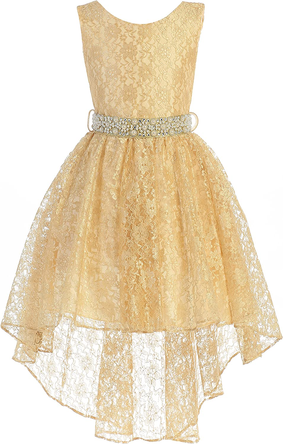 Little Girls Sleeveless Tampa Mall Floral Lace Fl Party Low High Rhinestone Spring new work